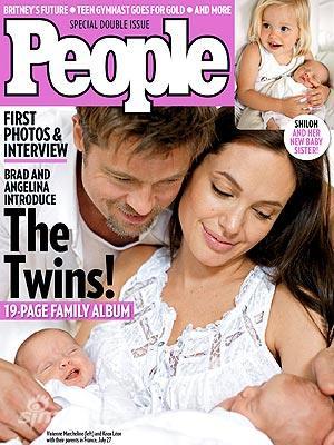 """图文:皮特茱莉""""分手""""大战-《PEOPLE》首度曝光他们的双胞胎"""