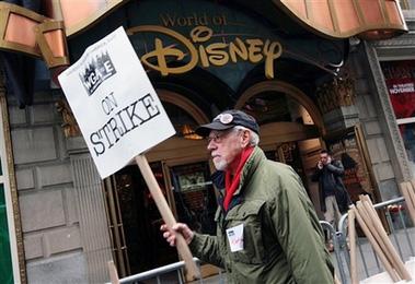 罢工编剧要求从迪斯尼广告收益中获得提成(图)