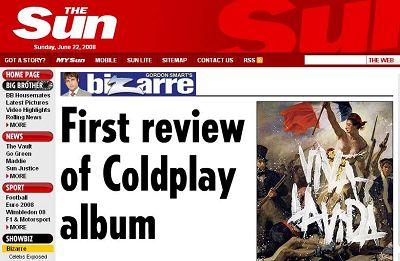 英国太阳报评酷玩新碟说其很有U2的特色(图)