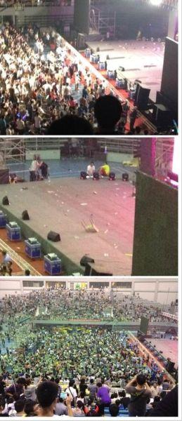 舞台上被扔上凳子和水瓶