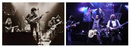 1983年(左)与2011年的Thin Lizzy乐队
