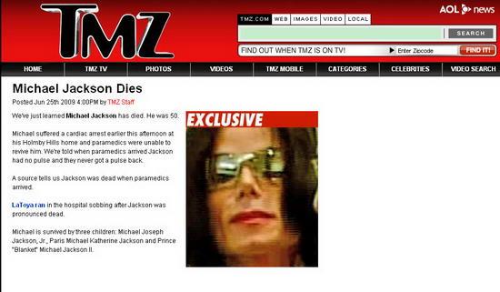 图文:各大媒体报道杰克逊逝世--TMZ