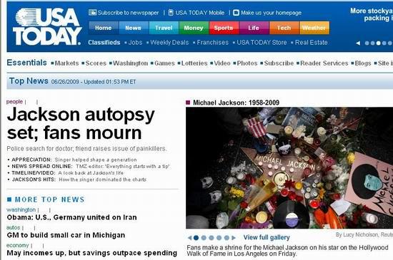 图文:各大媒体报道杰克逊逝世--今日美国