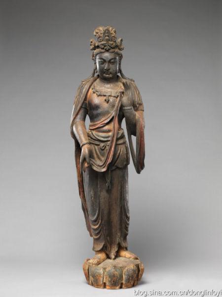 元代 木雕 大势至菩萨的法相 美国大都会博物馆藏
