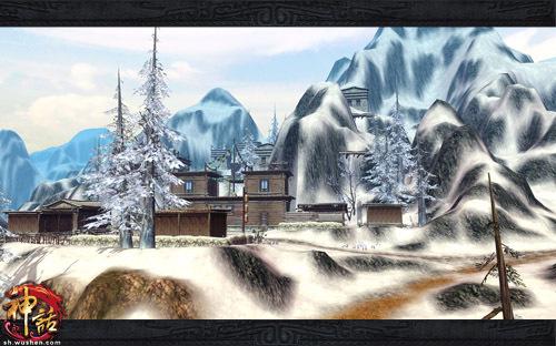 神秘的香格里拉有着一望无际的雪景