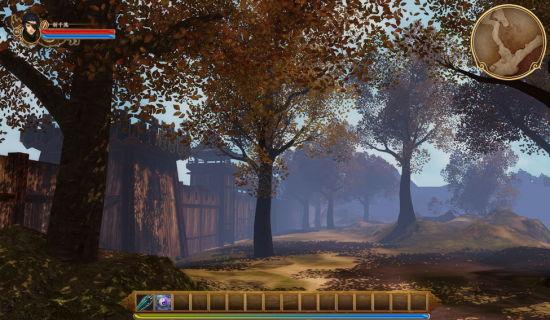军营场景外围,一地斑驳的树影随时可以随着微风轻轻摆动。