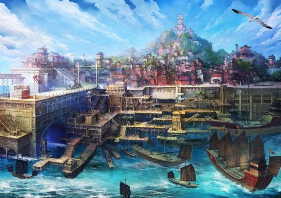 """《仙剑5前传》场景设定""""明州海港"""""""