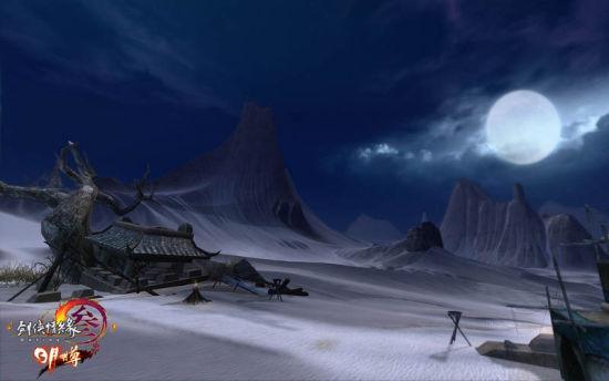 月下的白沙漠