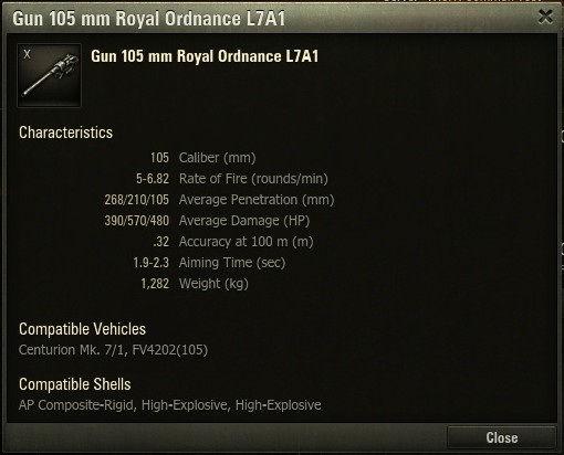 L7A1主炮的详尽数据