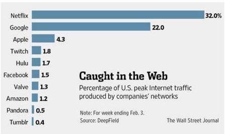 2月美国网络流量高峰品牌服务细分图,Twitch位居第四