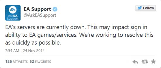 EA发推表示收到黑客攻击,并会尽快解决问题