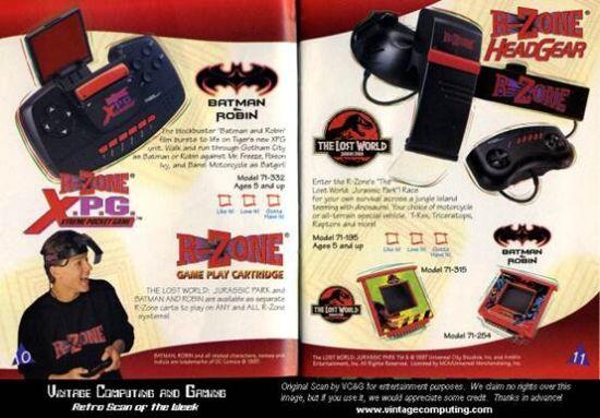 """R-ZONE是一款模仿任天堂Virtual Boy概念的廉价""""头戴式3D""""游戏机。该产品上市之初定价为60美元,只有Virtual Boy的1/3,同时它还是老虎电子首款可更换游戏的掌机,有不少人认为这款产品才算是老虎电子在游戏领域的第一次原创。"""