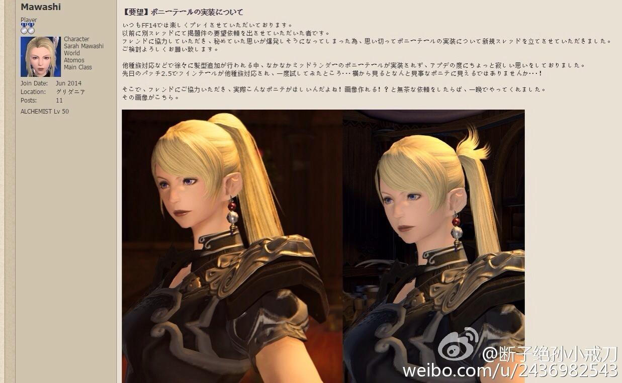 设计师回复 ff14未来将增可爱马尾辫发型图片
