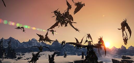最终幻想14飞行坐骑群飞游戏截图 场面壮观