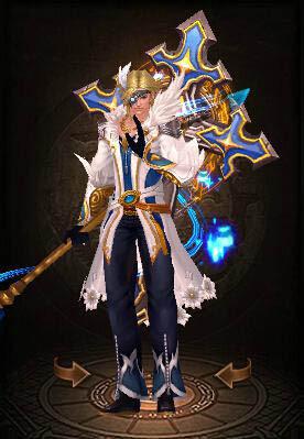 冰蓝的翅膀,象征着公平公正的裁决,蓝白相间的长袍,象征着神权的圣洁