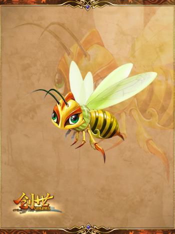 可爱小蜜蜂飞到花丛中