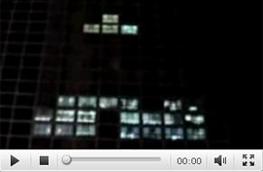 楼房灯光上演俄罗斯方块真实版