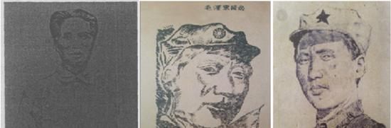 左一为1933年最早的毛泽东画像,右两幅绘制于长征前后
