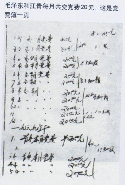 毛泽东和江青每月共交党费20 元,这是党费簿的一页。