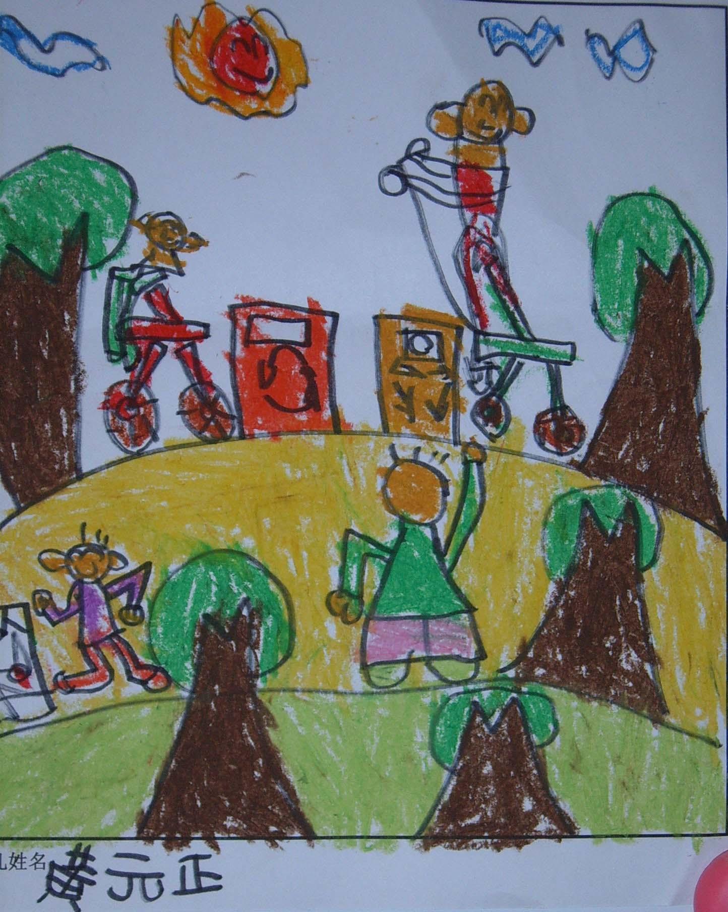 低碳环保儿童画作展示图片