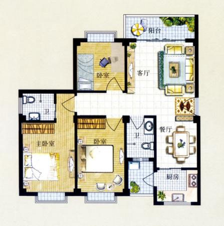 两房一厅一厨设计图展示