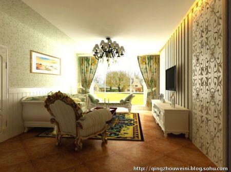 卧室在设计上采用欧式护墙板