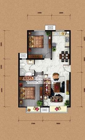 为东亚马赛公馆两居室户型图-大兴东亚MINI公馆精装小户型88平米通