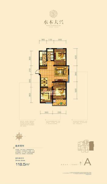 三室两厅一卫户型图