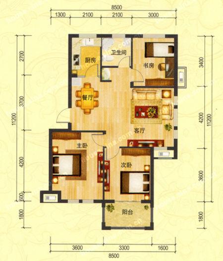 婚房推荐:d户型 三室两厅一厨一卫 建筑面积约94平米    推荐理由
