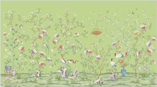 仙鹤青花图手绘壁纸
