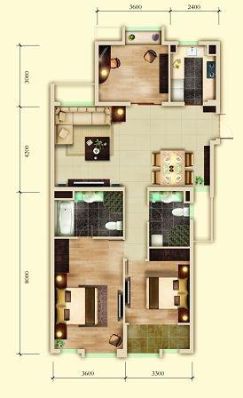 130平米三室一厅设计图