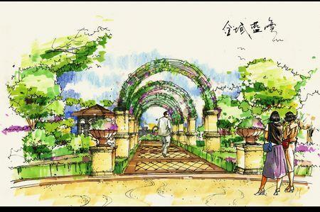 花廊手绘图