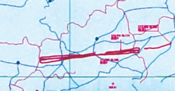 我反隐身雷达系统绘制的目标轨迹图