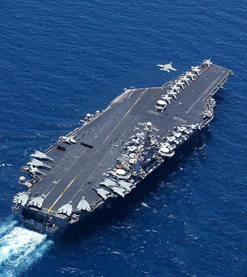 资料图:俯视美国海军华盛顿号核动力航母