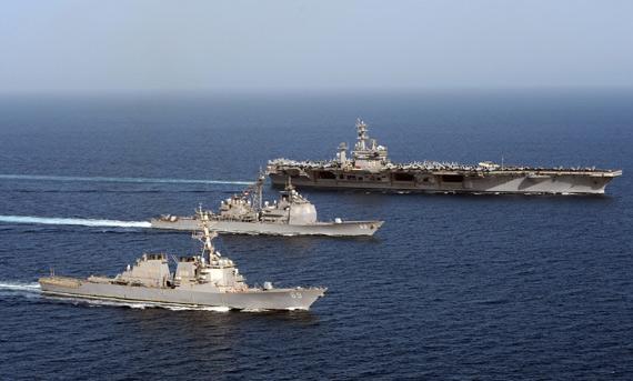 资料图:美国海军航母战斗群部分战舰
