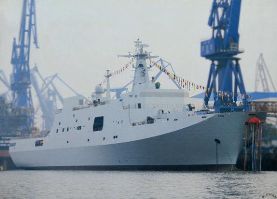 资料图:国产071级井冈山号船坞登陆舰