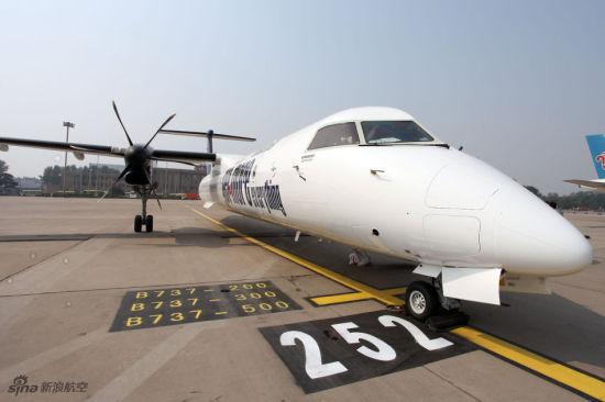 庞巴迪Q400 NextGen客机亮相中国。(图片版权所有 不得转载)