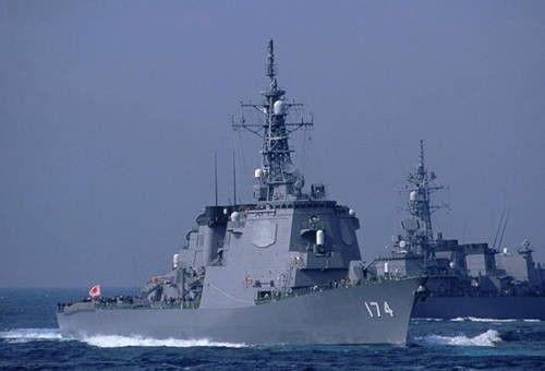 """资料图:日本海上自卫队""""雾岛""""号宙斯盾舰"""