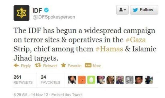 """以色列国防军就用""""推特""""(twitter)直播其对加沙地带哈马斯武装分子的军事行动宣传胜利,还将战果@给对手哈马斯的账号。"""