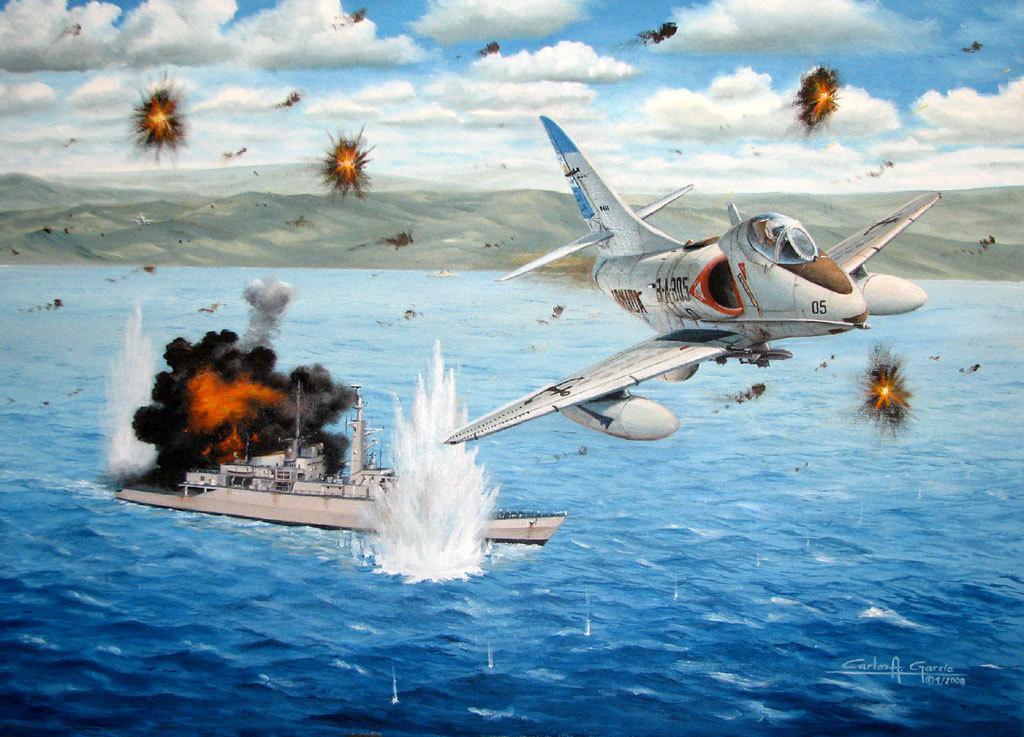 表现阿根廷天鹰战机空袭英军舰艇的绘画作品