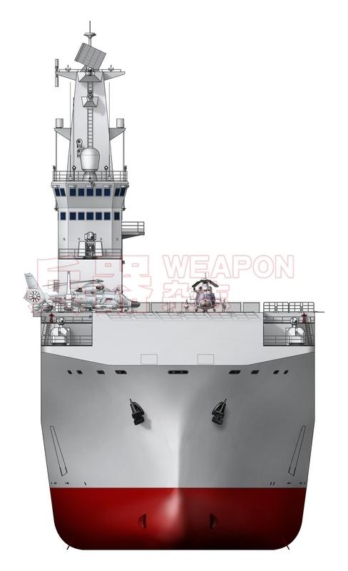 """""""2万吨多用途运输舰""""前视图。佟旭 绘制"""