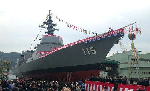 """日本新一代通用型驱逐舰首舰""""秋月""""号2010年10月13日下水"""