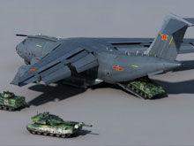 高山CG:运-20装载坦克装甲车