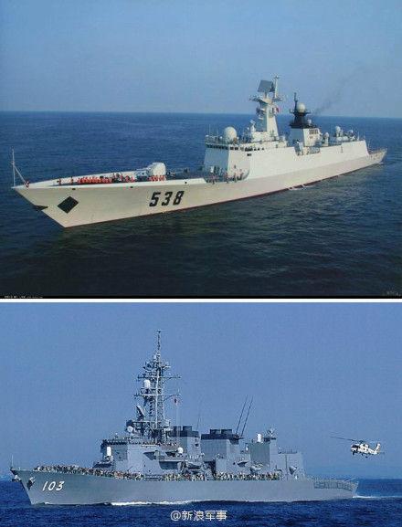 中国海军538烟台舰(上),日本夕立号驱逐舰(下)