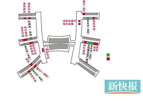 白云机场安检隔离区内的逸臣和生利贸易旗下商铺分布示意图。 制图/王云涛