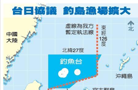台日商定的允许台湾渔船进入钓鱼岛海域范围