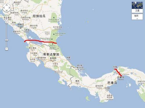 图示上红线为未来的尼加拉瓜运河,下红线为现有巴拿马运河(资料图)