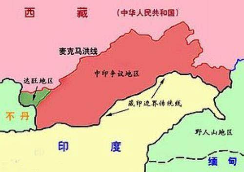 中印边界东段争议地区示意图(资料图)