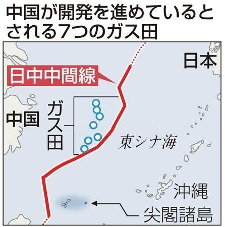 """图为日本媒体绘制的所谓""""中日中间线""""以及""""中方计划开发的7个新油汽田""""大致位置示意图"""