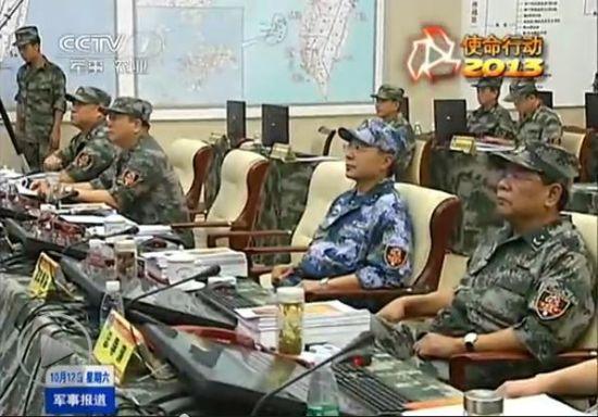 央视曝光在解放军演习联合指挥部挂有多张地图,其中一张是台湾地图。